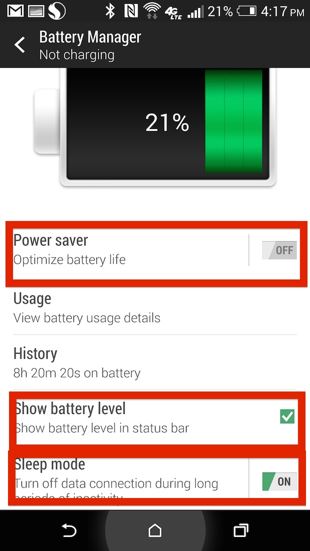 htc one battery saver