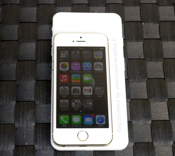 The iPhone 5s compared to a 5.5-inch iPhone 6 model.