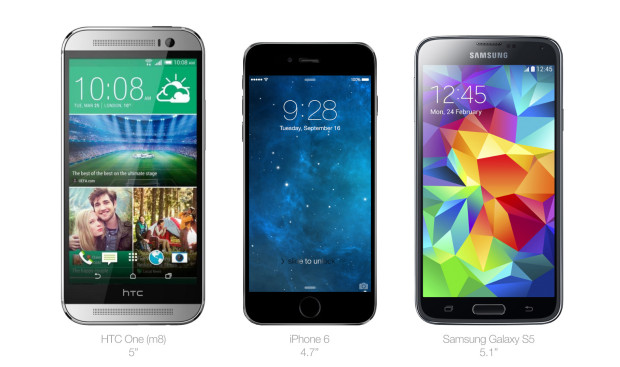 A concept shows a the potential size of the iPhone 6 next to the Galaxy S5 and HTC One M8.
