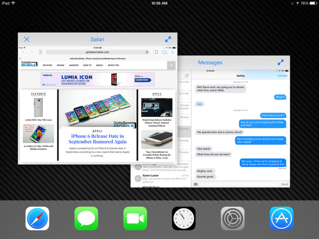 iPad multitasking in iOS 8