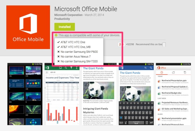 microsoft office incompatible with android tablets