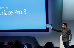 Microsoft's Panos Panay revealing the latest Surface branded device, the Surface Pro 3.