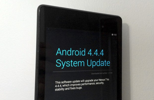 The Android 4.4.4 update installed smoothly on the Nexus 7 2013