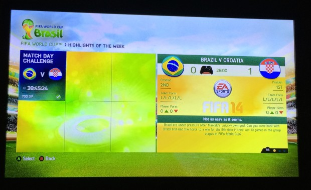 Pick a World Cup Challenge in FIFA 14 to replay the World Cup games from that day.