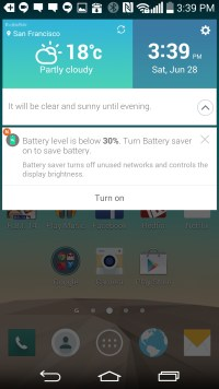 LG G3 Review: Smart Notice shows alerts such as low battery warnings