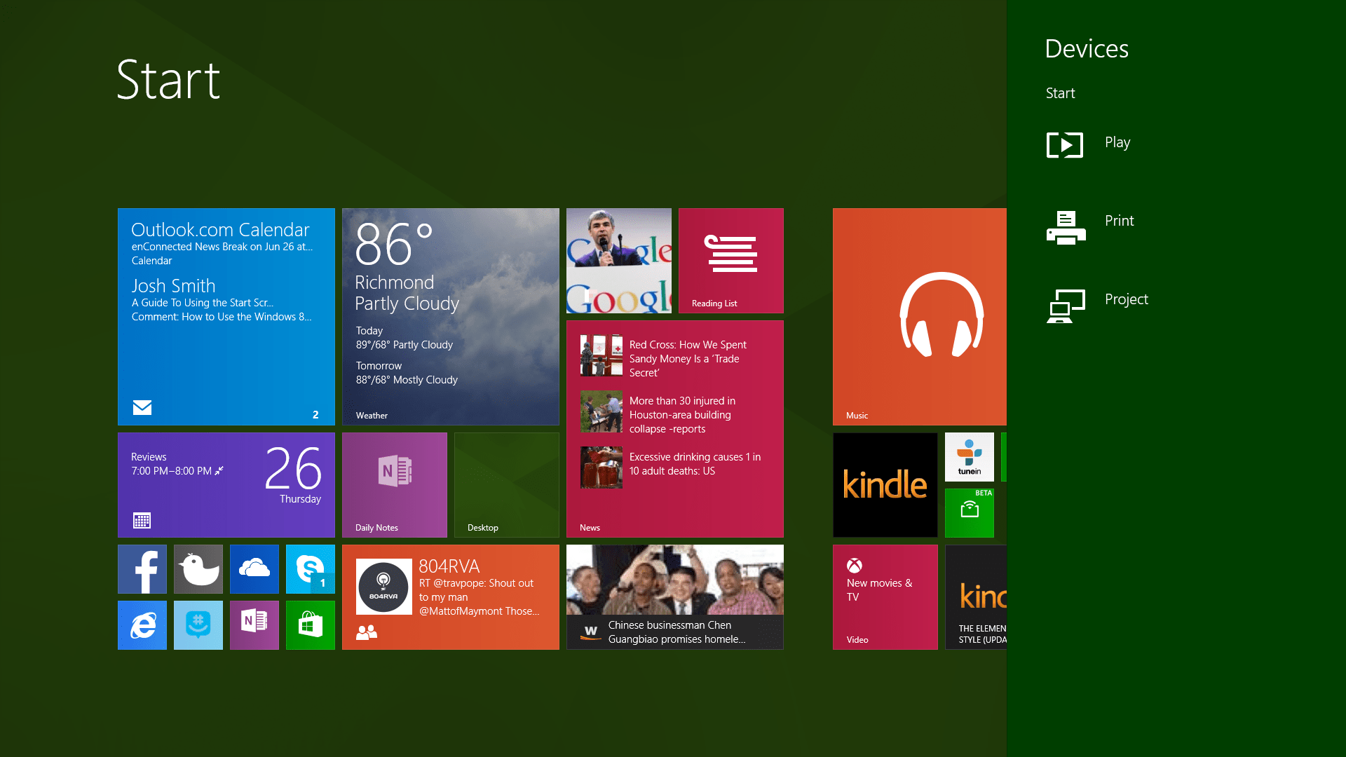 Guide to the Windows 8 Start Screen With a Mouse and Keyboard