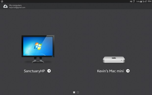 computers in parallels access for android