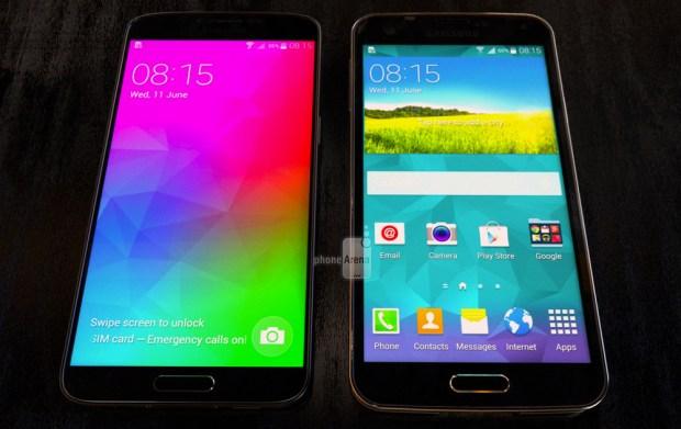 Galaxy F Prime (left) vs Galaxy S5 (right)
