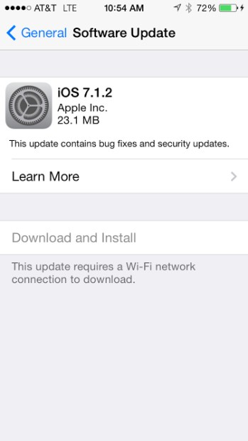 The iOS 7.1.2 update is a small update for iPhone 5 users.