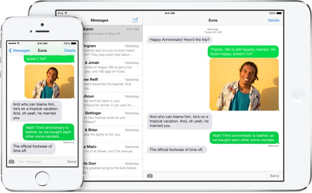 With iOS 8 for iPad it connects to your iPhone for texts and calls.