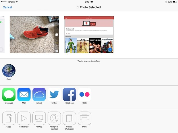 Use AirDrop to wirelessly share a file from iPad to iPhone or another iPad.
