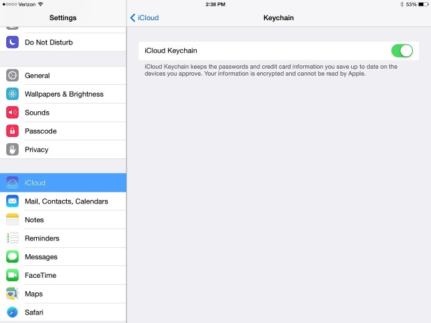 Use iCloud and iCloud Keychain to sync passwords across Mac, iPad and iPhone.