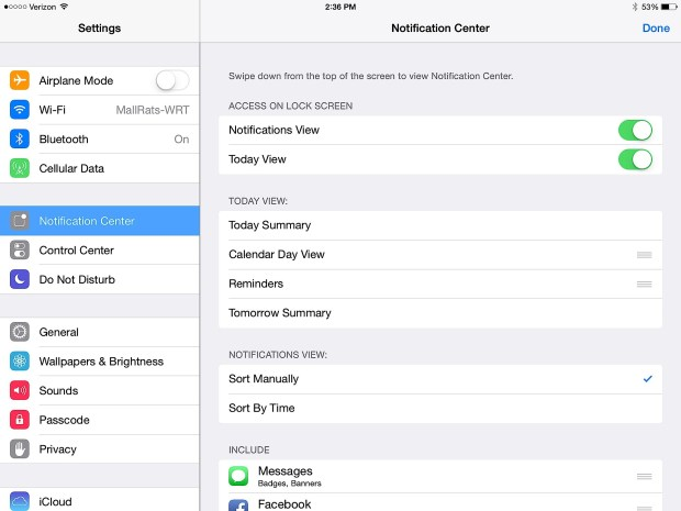 Customize your Notification Center on the iPad.