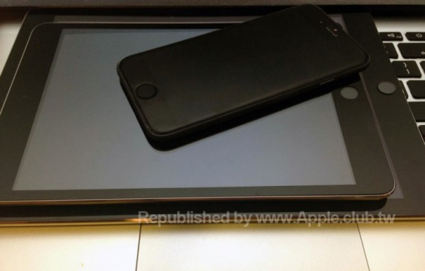 An alleged iPad mini 3 model alongside an alleged iPad Air 2 and iPhone 6.