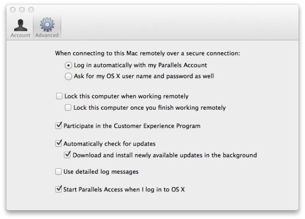 parallels access mac client settings