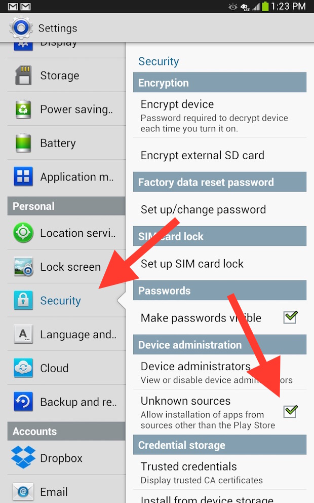 uknown sources settings in security on Android