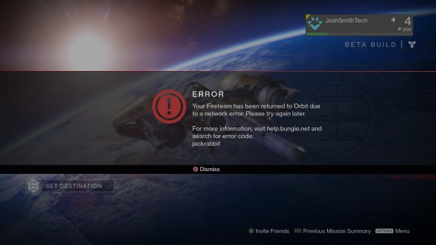 There are multiple Destiny beta problems with codes like jackrabbit, baboon or centipede and possible fixes.