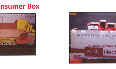 Sample box of CostCo Peaches and Nectarines as part of the listeria recall.