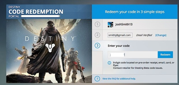 Enter your PS3 or PS4 Destiny beta code from a retailer.