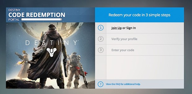 Sign up for the PS4 Destiny beta with one of many ID options.