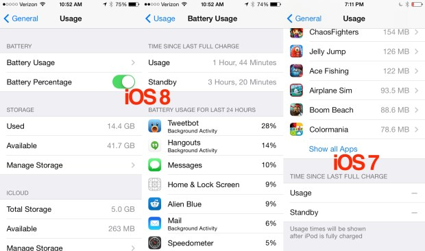 iOS 8 vs iOS 7 battery life tools.