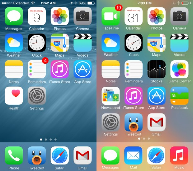 iOS 8 vs iOS 7 design looks very much the same.