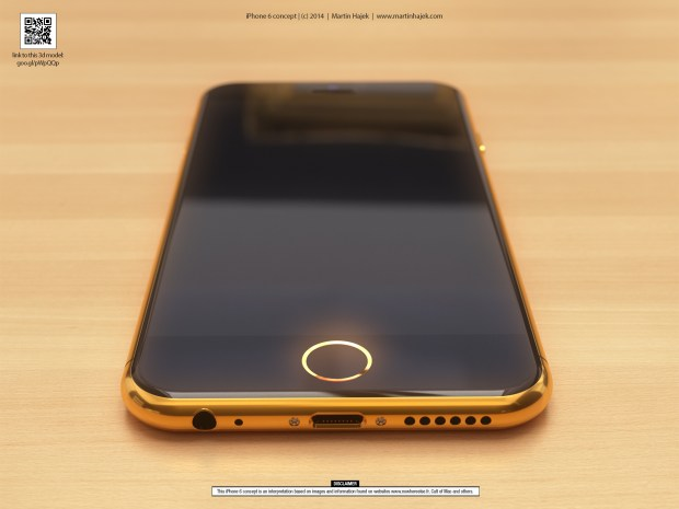 Gold iPhone 6 concept that incorporates iPhone 6 rumors.