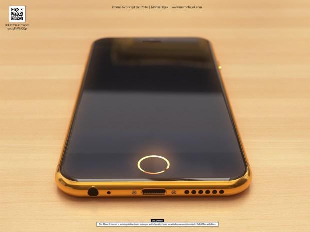 Gold iPhone 6 concept that incorporates iPhone 6 rumors.