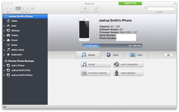 To transfer music from iPhone to Mac you'll need to choose Music in iExplorer.