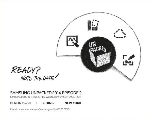 The Galaxy Note 4 invite confirms the event date and is clearly for the Note 4.
