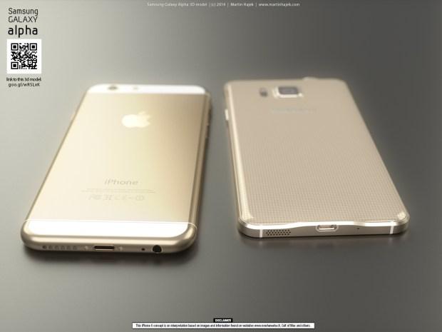iPhone 6 vs. Galaxy Alpha.