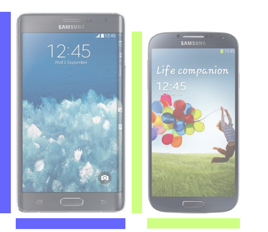 The Galaxy Note Edge vs. Galaxy S4.