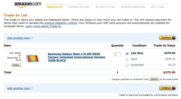 amazon samsung galaxy note trade-in value