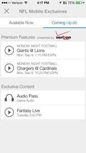 The Verizon NFL Mobile app includes a Monday Night Football live stream option.