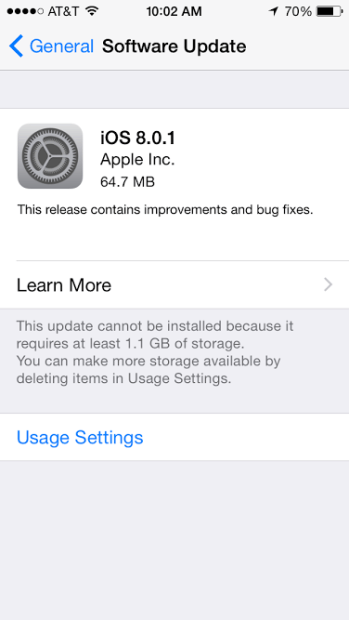 iOS 8.0.1 is now available.