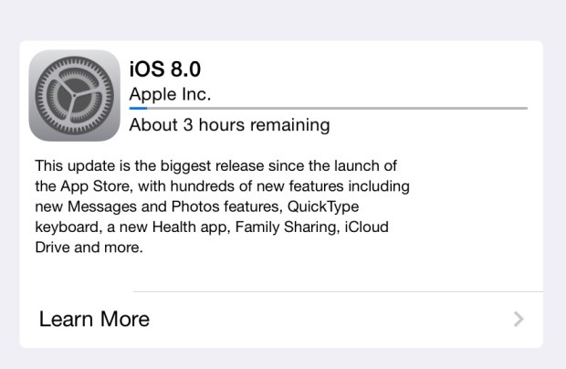 Some iOS 8 download times are a more agreeable three hours.