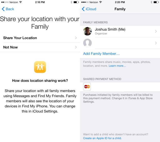 Choose if you want to share plans and manage family members.