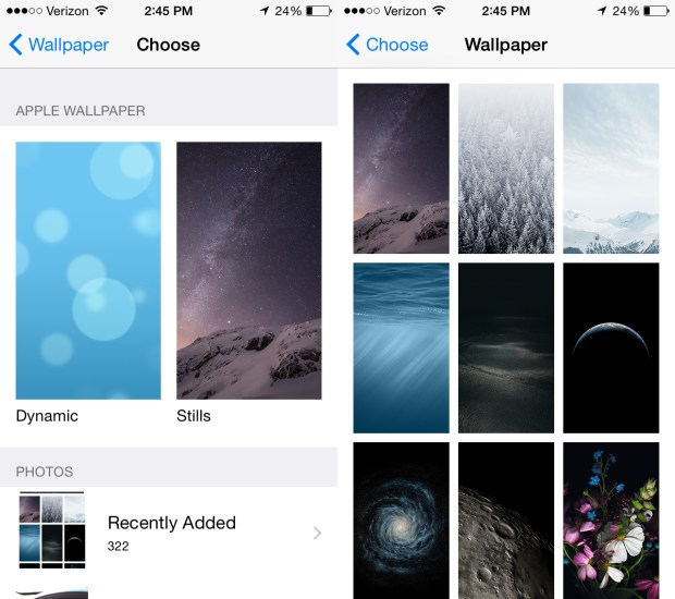 Use the new iOS 8 wallpapers.