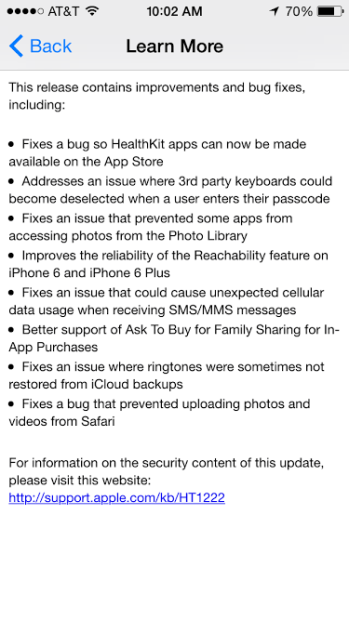The iOS 8.1 update is loaded with fixes.