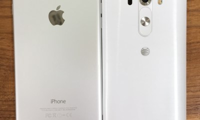 The LG G3 size is noticeably shorter than the iPhone 6 Plus.