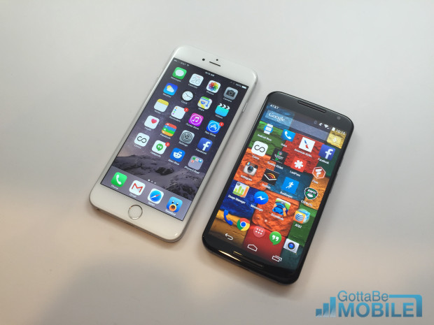 The Moto X 2014 and iPhone 6 Plus displays both look very nice.