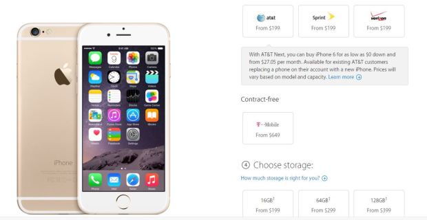 Storage prices for the iPhone 6.