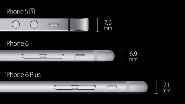 The iPhone 6 Plus is taller, wider and thicker than the iPhone 6.