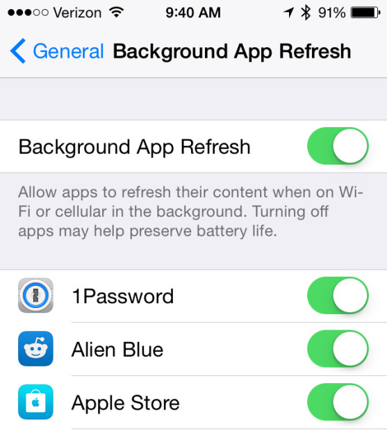 You can stop background activity from using your iPhone battery life overall or per app basis.