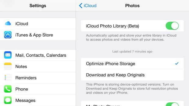 Sync all of your photos with iCloud Library on iOS 8.