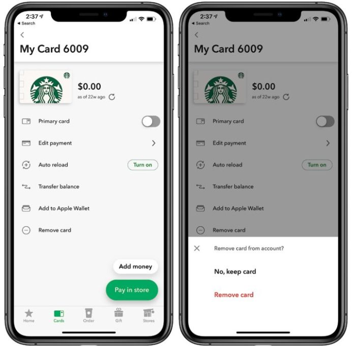 Remove a card from the Starbucks app.