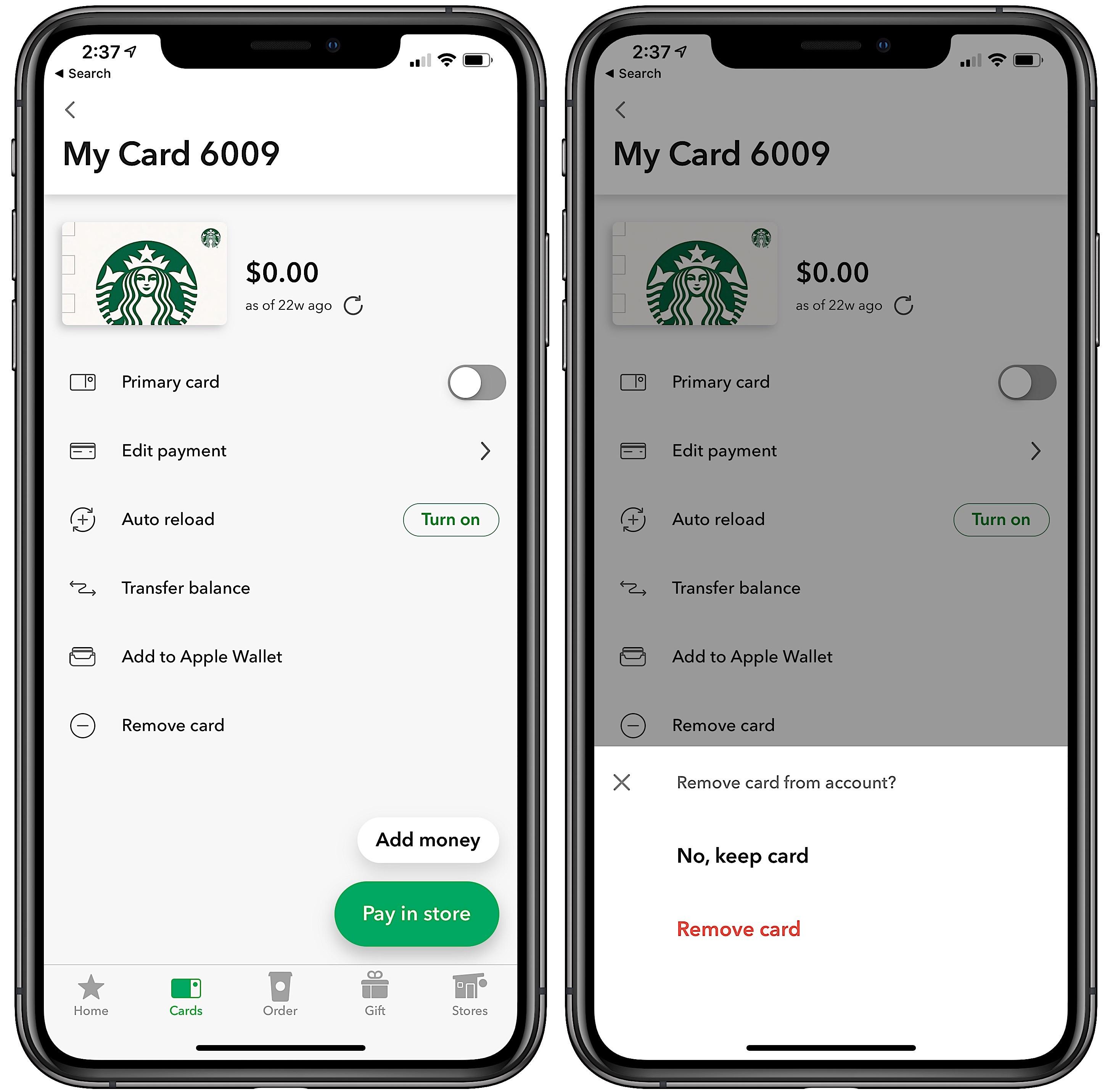 how to redeem starbucks gift card on app