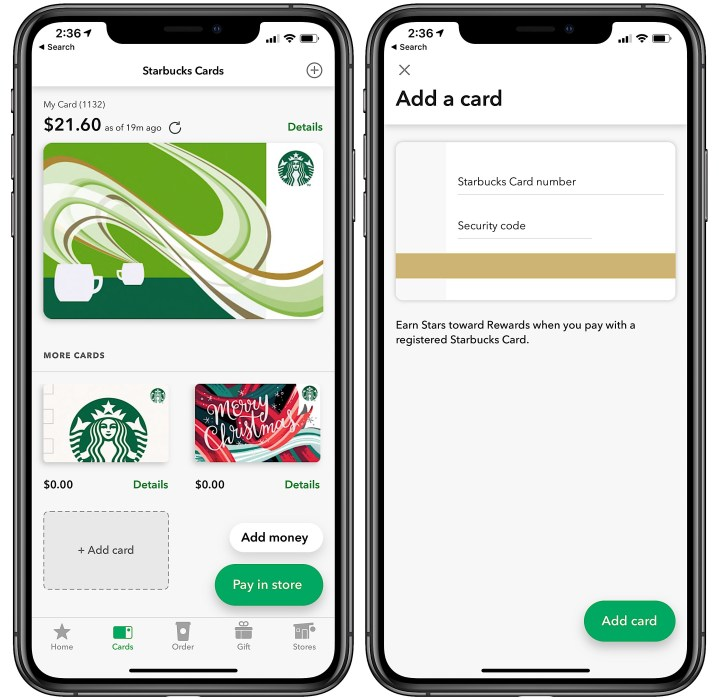 Tap To Add A Gift Card The Starbucks App