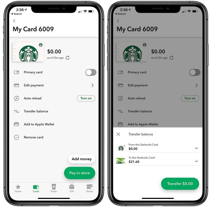 Starbucks balance transfer screen on iPhone.