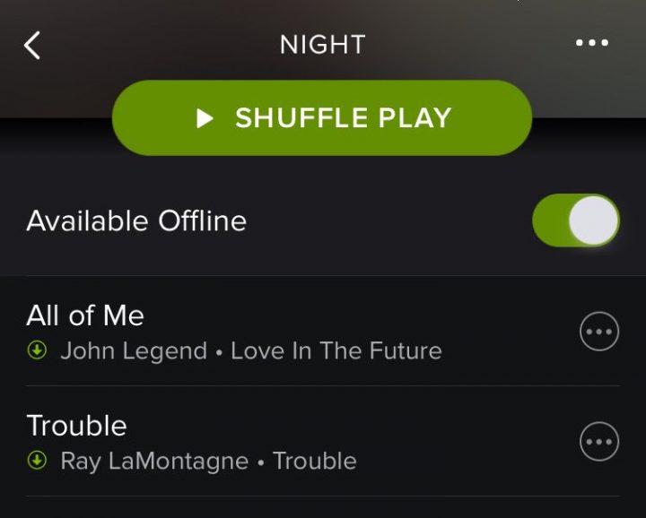 offline playlist spotify mobile